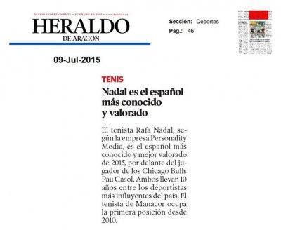 20150709 HERALDO ARAGON - Nadal el espanol mas conocido y valorado - Personality Media.jpg
