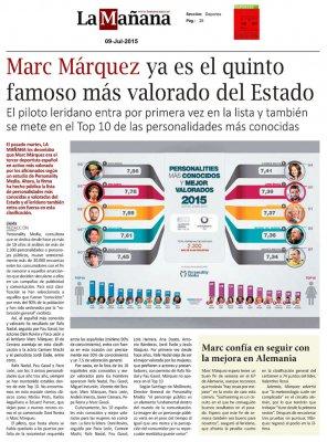 20150709 LA MANANA - Marc Marquez el quinto famoso mas valorado de Espana - Personality Media.jpg